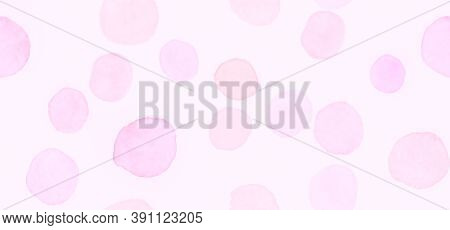 Pink Seamless Girly Wrapping. Watercolour Feminine Surface. Bokeh Radial Confetti. Abstract Polka Sp