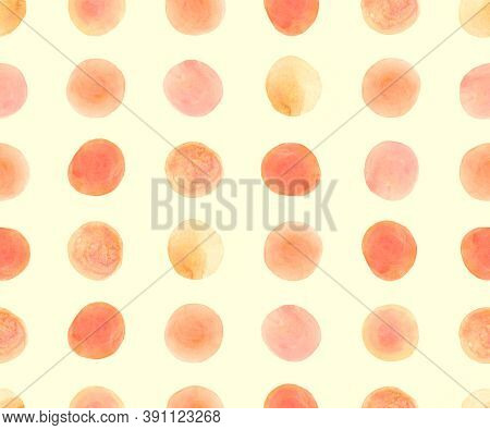 Seamless Wrapping Paper Design. Red Random Circles Wallpaper. Orange Watercolor Stains. Abstract Geo