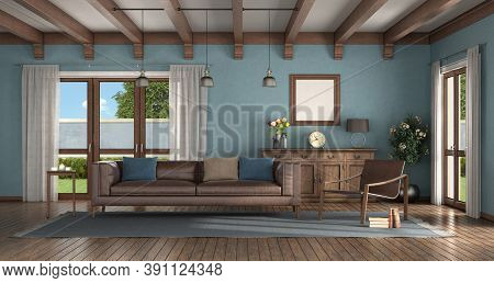 Classic Style Living Room With Modern Armchair, Leather Sofa And Old Sideboard On Background - 3d Re