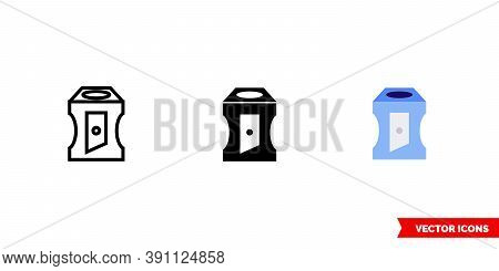 Pencil Sharpener Icon Of 3 Types Color, Black And White, Outline. Isolated Vector Sign Symbol.