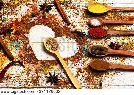 Wood Spoons With Paprika, Pepper Balls, Turmeric, Dry Seasoning