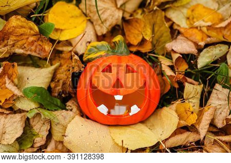 A Red Pumpkin With A Funny Scary Face And A Smile Lies On The Grass In Dry Yellow Leaves In Autumn I