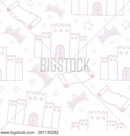 Fairy Tale Seamless Pattern. Pink Castle, Diadem, Stars And Old Scroll On A White Background. Hand D