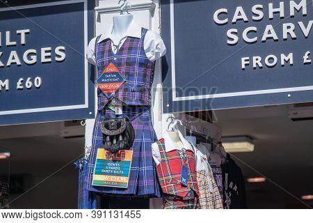 Edinburgh, Scotland, August 18th 2019. Shelves Of A Shop In Edinburgh Selling Traditional Scottish W