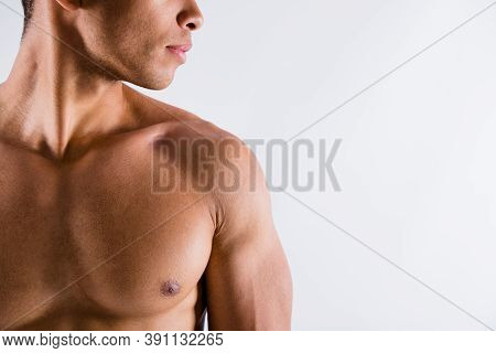 Closeup Cropped Profile Photo Of Handsome Serious Muscular Sportsman Dark Skin Guy Look Side Empty S