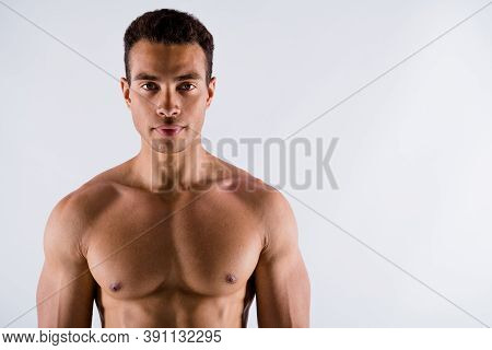 Close-up Portrait Of His He Nice Attractive Content Serious Strong Tanned Guy Working Out Crossfit E
