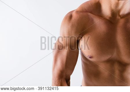 Cropped Close-up View Of His He Nice Attractive Powerful Strong Tanned Guy Perfect Shape Form Figure