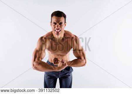 Portrait Of His He Nice Attractive Powerful Strong Concentrated Dedicated Devoted Tanned Guy Making