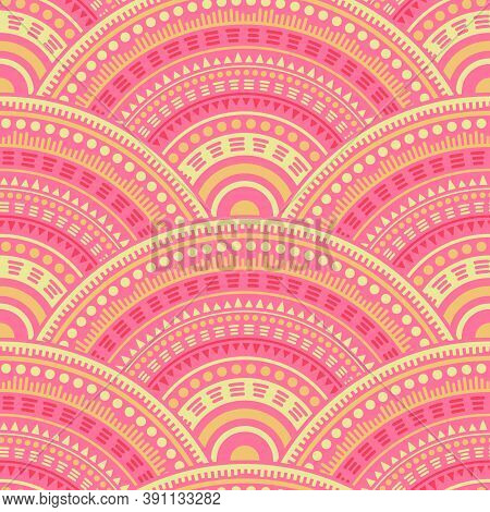 African Medallions Mosaic Wallpaper Design Vector Seamless Pattern. Folk Motifs Doodle Repeating Sca
