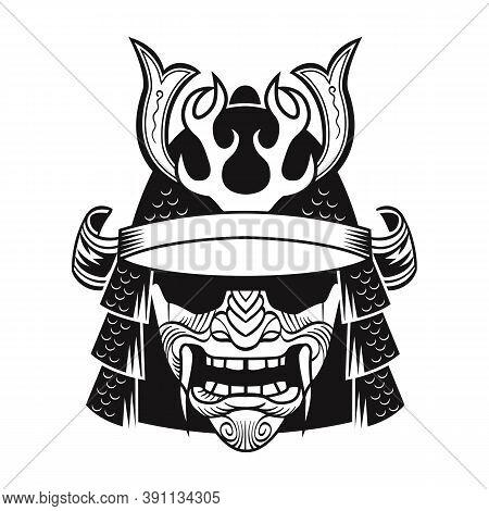 Samurai In Black Mask. Japan Traditional Fighter. Vintage Isolated Vector Illustration. Military Art
