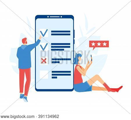 Online Survey Concept. Man And Woman Going Through The Survey On The Smartphone Screen.