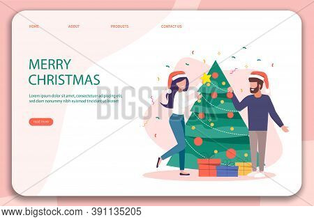 Christmas landing page. Characters decoration. Young beautiful couple decorate Christmas tree. Gifts under christmas tree.Merry Christmas card vector Illustration.Christmas. Christmas Vector. Christmas Background. Merry Christmas Vector. Merry Christmas b