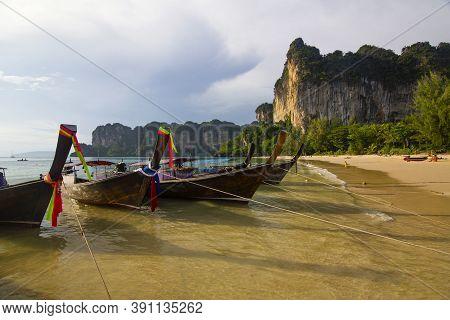 Boats In Beautiful Railay Beach In Krabi Province, Thailand