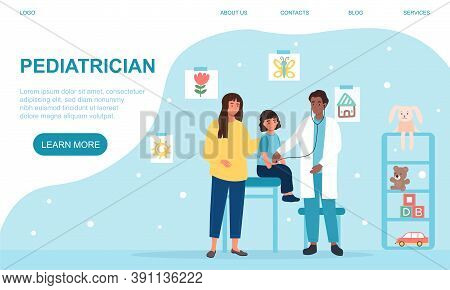 Pediatrician Appointment Concept. A Pediatrician Listening With A Phonendoscope To A Child, His Moth