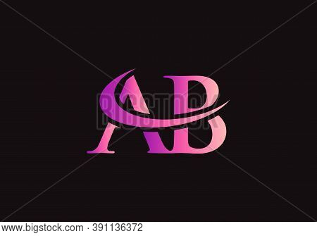 Ab Logo Design Purple Swoosh. Vector Ab Logo For Business And Company Identity