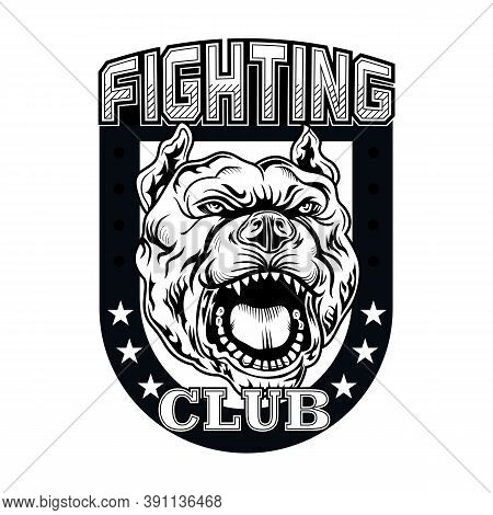 Fight Club Sign With Angry Dog. Kickboxing And Fighting Club Logo With Angry Dog. Isolated Vector Il