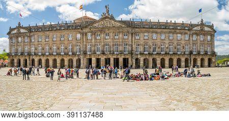 Santiago De Compostela, Spain, May 2018: Pazo De Raxoi Is A Neoclassical Palace Located On The Praza