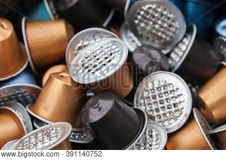 Waste Coffee Capsules, Close-up Photo With Selective Soft Focus