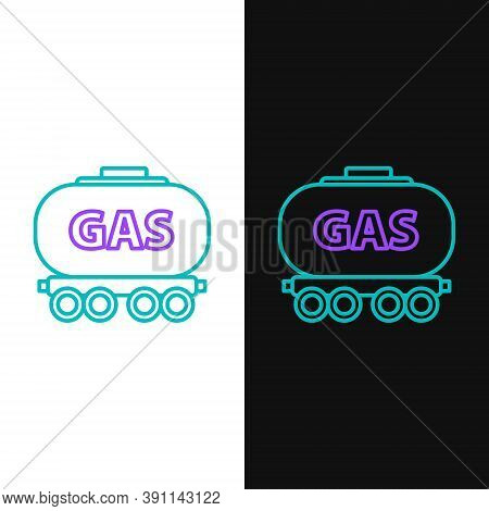 Line Gas Railway Cistern Icon Isolated On White And Black Background. Train Gasoline Tank On Railway