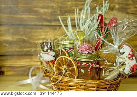 Christmas Food Gift Baskets. Edible Christmas Gift Made Of Cookies, Honey, Homemade Handmade Sweets,