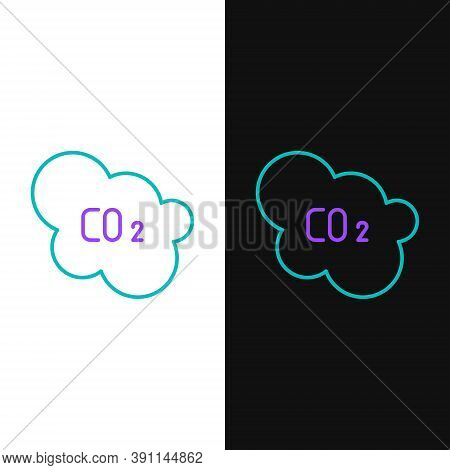 Line Co2 Emissions In Cloud Icon Isolated On White And Black Background. Carbon Dioxide Formula, Smo