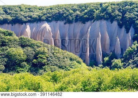 Pumice Rock Outcrops Near River. Kutkhins Baht, Kamchatka, Russia
