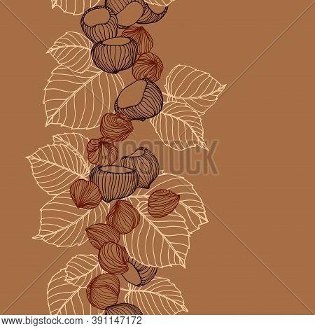 Vertical Seamless Pattern Of A Set Of Hazelnuts & Kernels, For Menu Design Or Confectionery, Textile