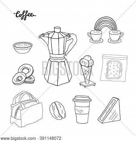 Coffee Set. Coffee Maker, Cup, Mug, Donuts,sandwich, Lunch Bag, Coffee Min And Ice Cream. Hand Drawn