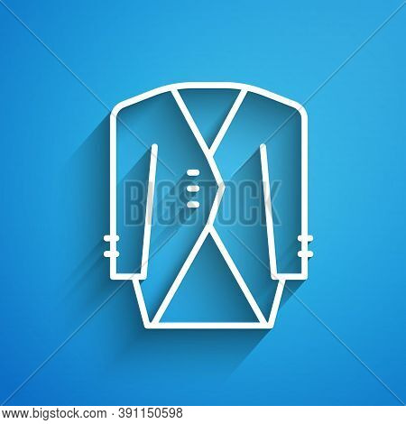 White Line Suit Icon Isolated On Blue Background. Tuxedo. Wedding Suits With Necktie. Long Shadow. V