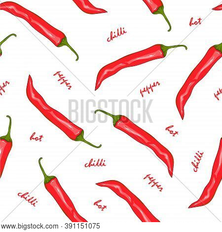 Seamless Pattern Red Hot Chilli Pepper. Peppers Background. Hand Drawing Chili Pepper. Vector Illust