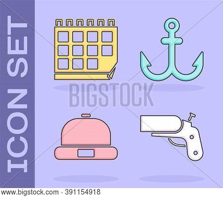 Set Flare Gun Pistol, Calendar, Beanie Hat And Anchor Icon. Vector