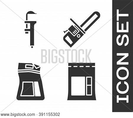 Set Cement Bag, Calliper Or Caliper And Scale, Cement Bag And Chainsaw Icon. Vector