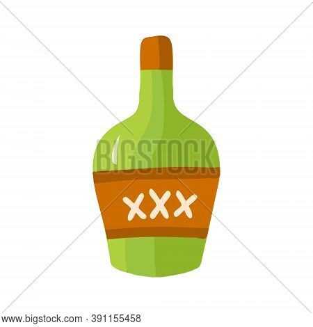 Vector Illustration With A Bottle Of Rum. Green Cartoon Bottle With Rum In Flat Style. A Game About