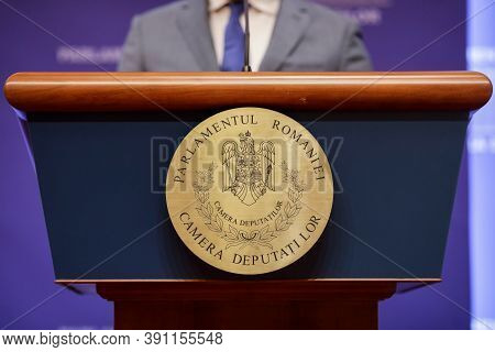 Bucharest, Romania - October 23, 2020: Romanian Chamber Of Deputies (the Lower House Of The Romanian