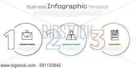 Set Line Briefcase, Lawyer, Attorney, Jurist And Lawsuit Paper. Business Infographic Template. Vecto