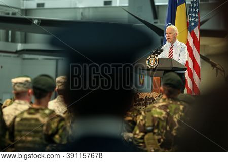 Otopeni, Romania - May 20, 2014: Us Vice President Joe Biden Addresses Romanian And Us Soldiers At O