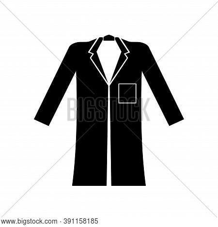 Wear Coat Black Icon,vector Illustration, Isolated On White Background Label. Eps10
