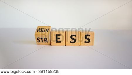 Wellness Instead Of Stress. Turned A Cube And Changed The Word 'stress' To 'wellness'. Beautiful Whi