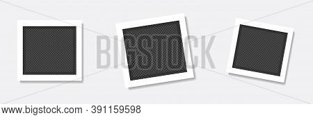 Photo Frame With Transparent. Vector Empty Photo Collection.rotated Photo Frame Concept.