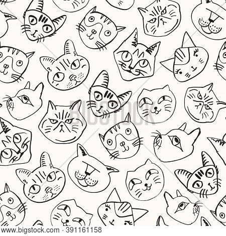 Cat Seamless Background. Hand Drawn Various Cat's Heads Pattern. Inky Cute Decoration. Doodle Vector