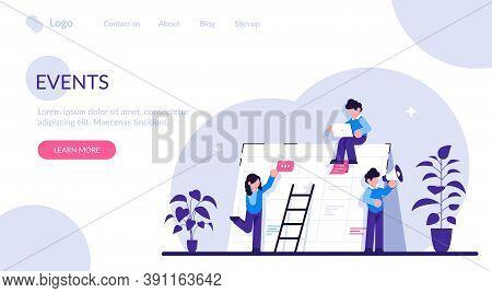 Events Website Concept. Corporate Events. Event Calendar. Notification, Website Menu Bar, Ui Element