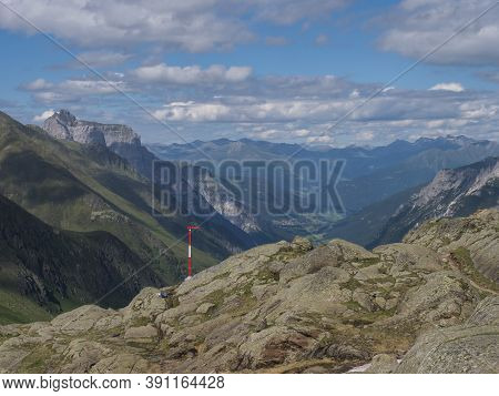 Summer View Of Stubai Valley From Bremer Hutte At Hiking Trail, Stubai Hohenweg, Rock, Boulders And