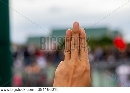 Three Finger Hand Symbol And Democracy. Symbolic Support For Democracy.