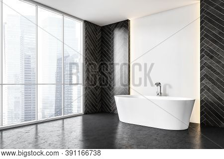 White Bathtub With Faucet Against Grey Tile Wall Decoration On The Sides, Windows With City View. Ye