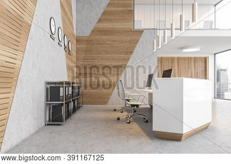 Reception Hall Desk With Computers. Two Floors Lobby Open Space Business Room, Wooden Walls And Marb