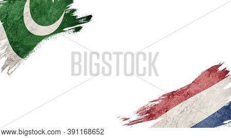 Flags Of Pakistan And Nederland On White Background