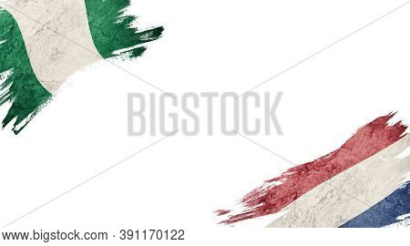 Flags Of Nigeria And Nederland On White Background
