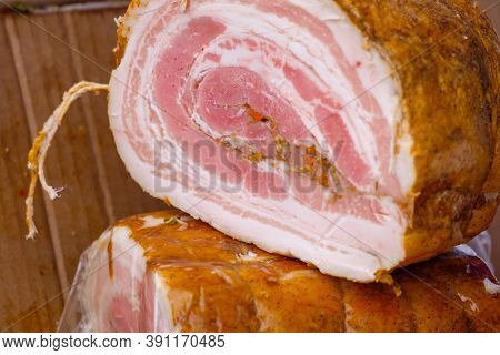 Homemade Lard With Meat Rolled Into A Roll. Delicious Juicy Smoked Lard