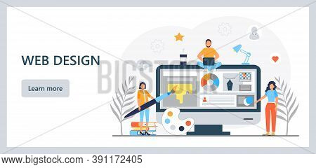 Ui, Ux Concept Vector. Web Designers Are Creating Design Of Landing Page. User Interface And User Ex