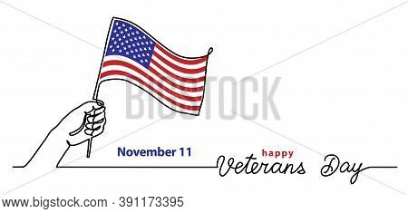 Veterans Day Simple Vector Banner, Poster, Background With Flag And Hand. Single Line Art With Text